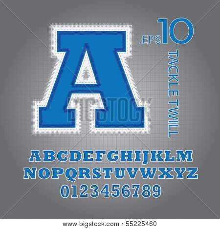 Blue Tackle Twill Alphabet And Numbers Vector
