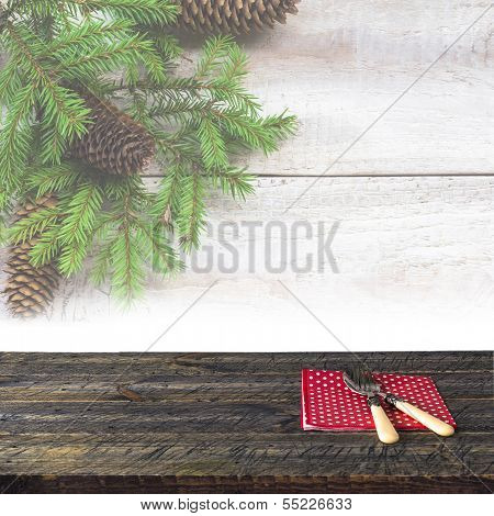 Christmas Wooden Table Festive Tableware