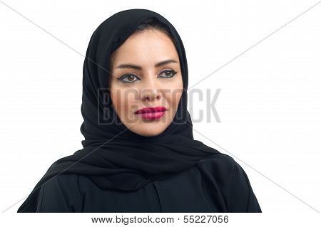 Arabian woman posing against a white background