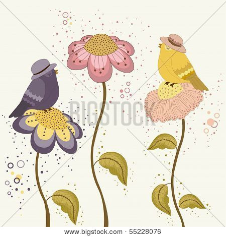 Bird On Flowers