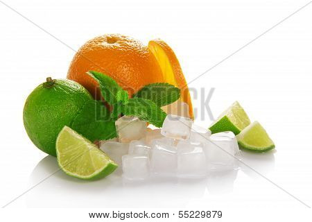 Ripe orange, green lime and mint