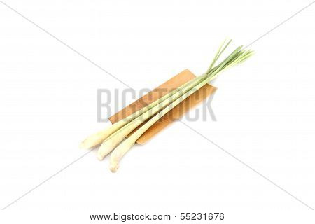 Closeup Fresh Lemon Grass In Bamboo Dish.