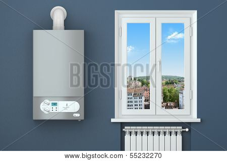 Heating House. Gas Boiler, Window, Heating Radiator.