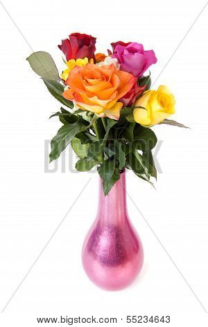 Bouquet Of Colorful Roses In Vase Over White Background