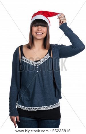 Young Woman With A Christmas Hat