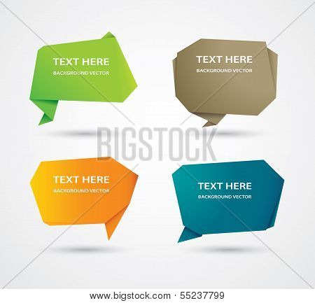 Vector abstract origami speech bubble vector background