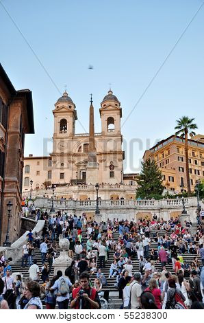 Rome - September 20: People Sitting On The Spanish Steps On September 20, In Rome, Italy. With 138 S