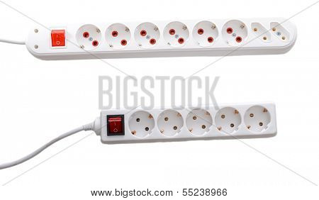 Power surges, isolated on white