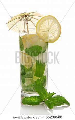 Mojito, is decorated with an umbrella