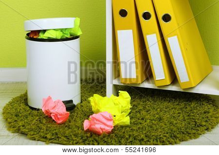 Garbage bin, on office background