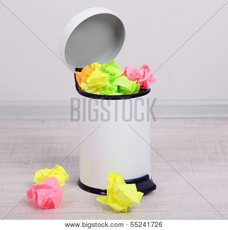 Garbage bin, on gray background