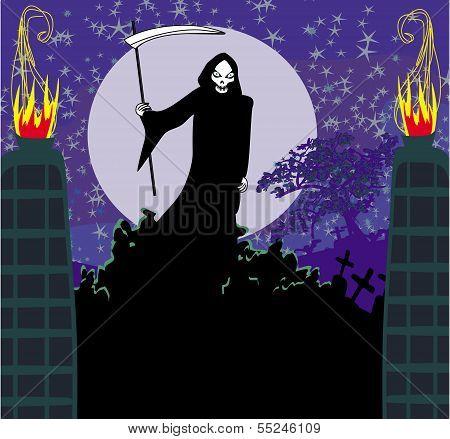 Illustration Of Grim Holding Sword Standing Near Graveyard