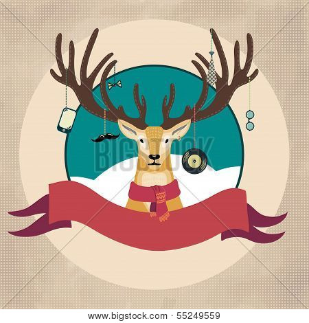 Hand Drawn Vector Illustration of Deer Hipster in scarf