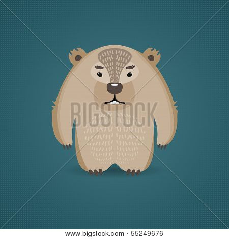 Funny cartoon wombat on dark blue background