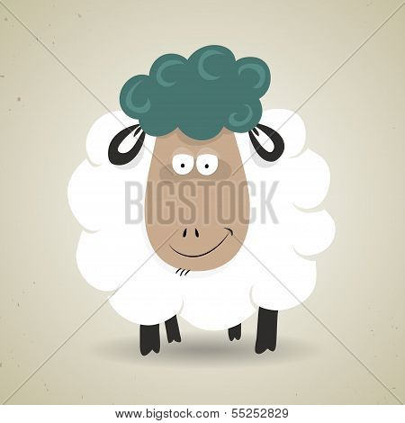 Cute cartoon smiling sheep standing