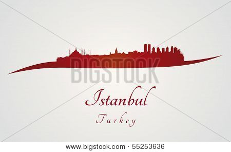 Istanbul Skyline In Red