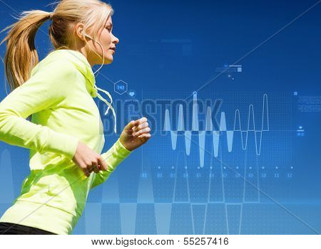sport, training, technology, fitness and lifestyle concept - woman doing running with earphones outdoors