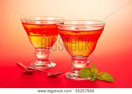 Two glasses of the fruit jelly