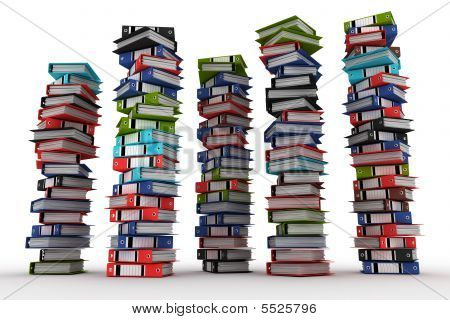 A Piles Of Archive Binders Isolated On White Background (3D Rendering)