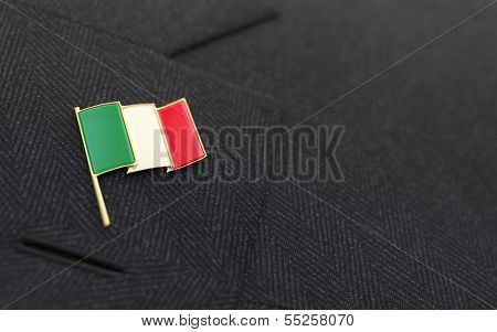 Italy Flag Lapel Pin On The Collar Of A Business Suit
