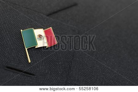 Mexican Flag Lapel Pin On The Collar Of A Business Suit