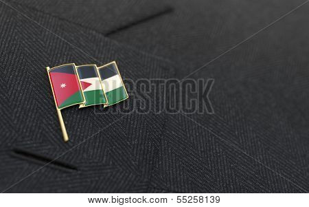 Jordan Flag Lapel Pin On The Collar Of A Business Suit