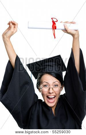 Graduating student in glasses and black academic robe puts the diploma over the head, isolated on white