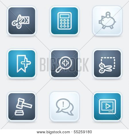 Shopping web icon set 3, square buttons