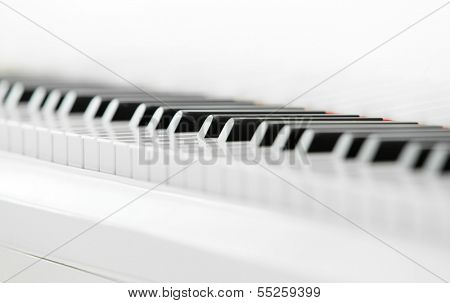 Close up of piano keyboard. Concept of music and creative hobby