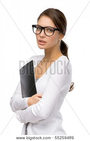Half-length portrait of businesswoman with folder wearing black frame glasses, isolated on white
