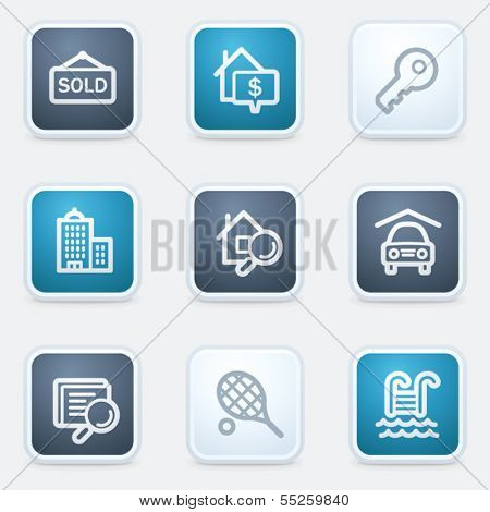 Real estate web icon set, square buttons