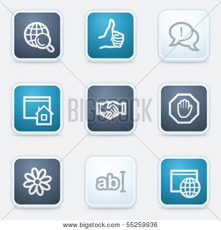 Internet web icon set 1, square buttons