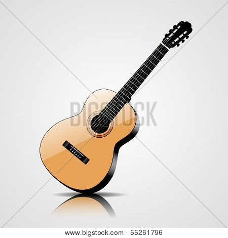 Vector classic guitar isolated on white background