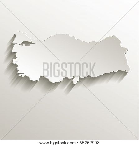 Turkey map card paper 3D natural raster