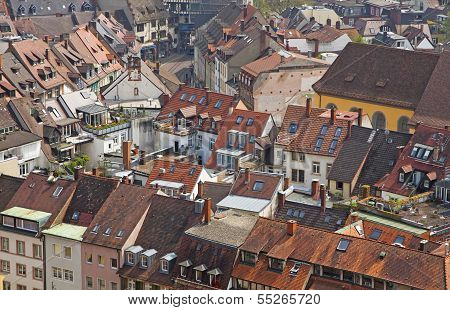 Roofs Of Buildings In Freiburg Im Breisgau City