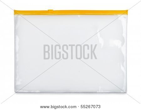 Plastic zipper bag isolated on white