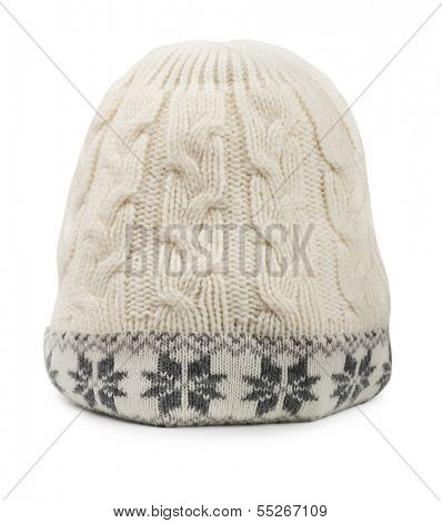 White winter woolen cap isolated on white