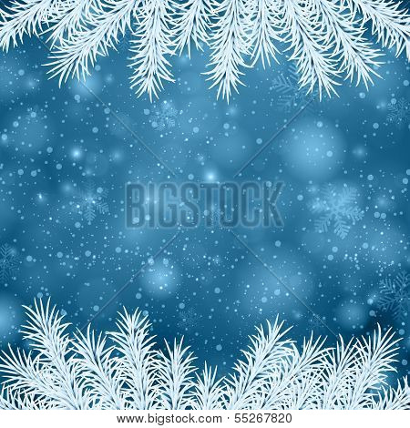 Blue winter abstract background. Christmas illustration with snowflakes and sparkles. White fir needles. Vector.