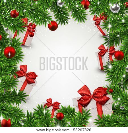 Christmas frame background with fir twigs and gift boxes. Vector illustration.