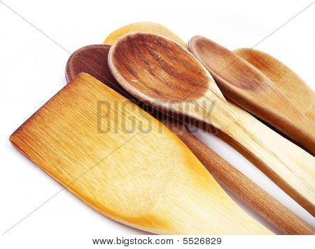 Wooden Spoons Isolated