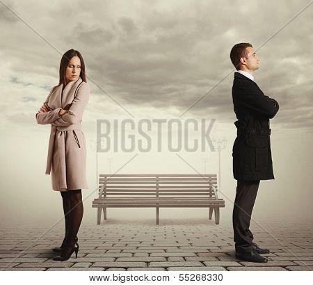 young caucasian couple in quarrel