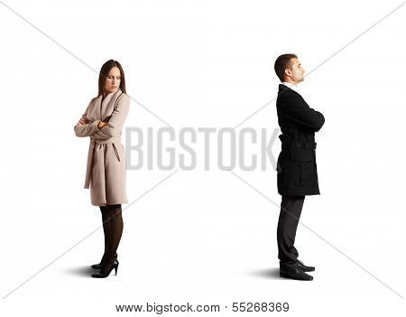young couple in odds. isolated on white background