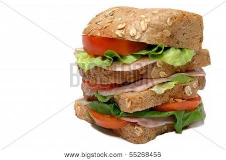 Close-up image of fresh made sandwich with salami and salad