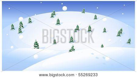 Fir Trees Over Snowcapped Landscape