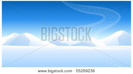 Footprints On The Snowcapped Landscape And Aurora Borealis In Sky
