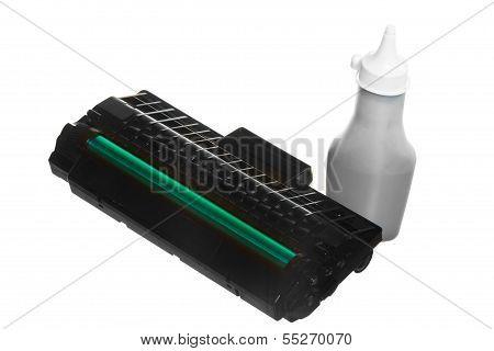 Black Green Cartridge Toner Bottle Isolated. Technology Equipment.