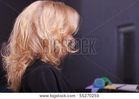 Female Blond Wavy Hair. Back Of Woman Head. Hairdresser. Beauty Salon.