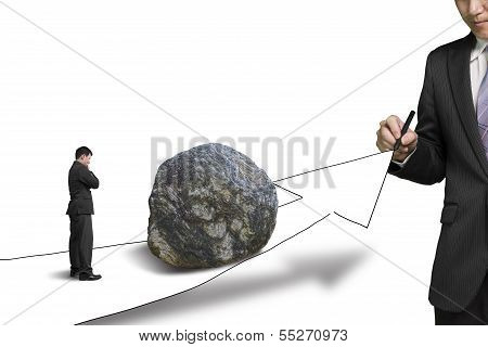 Businessman Drawing Road With Growth Arrow And Large Rock On The Way The Other Standing Toward The R