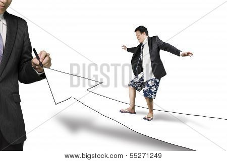 Businessman Drawing Road With Growth Arrow The Other Surfing Toward, In White Background
