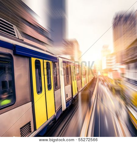 Sky train through the city center in Kuala Lumpur,motion blur